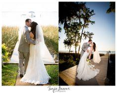 Jacksonville wedding photography; St Johns River Wedding; Tonya Beaver Photography; orchid bouquet; wedding photos on dock; evening wedding formals