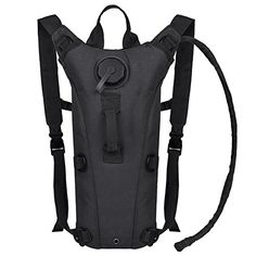 Free,Hydration Pack with 2L Bladder Water Bag Great for Hunting Climbing Running and Hiking (Black , One Size)
