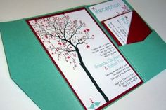 Red and teal invites