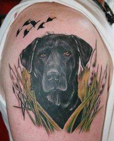 Black Lab Tattoo -  Over 30,000 Tattoo Ideas and Pictures Enjoy! http://www.tattooideascentral.com/black-lab-tattoo/