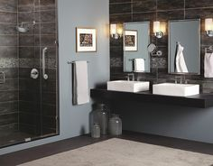 Modern style and matching bath safety from the Arris suite of bath products.