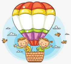 Happy cartoon kids travelling by air with copy space across the. - Happy cartoon kids travelling by air vector art illustration Happy Cartoon, Cartoon Kids, Cartoon Art, Cartoon Memes, Cartoon Characters, The Balloon, Hot Air Balloon, Cartoon Drawings, Easy Drawings