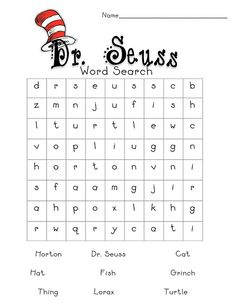 Dr. Seuss word find