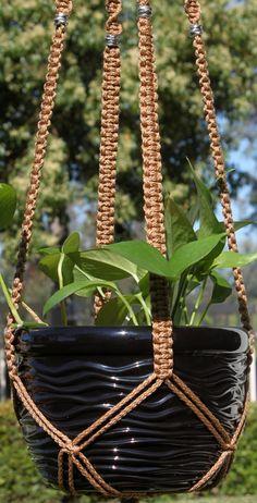 CLASSIC #Handmade Tan #Macrame Plant Hanger in CINNAMON by #ChironCreations via @Etsy http://etsy.me/1FLlFgk #home #homedecor #garden #decor