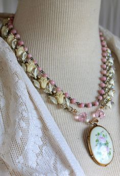 Statement Assemblage Necklace Creams pinks by OldNouveau on Etsy