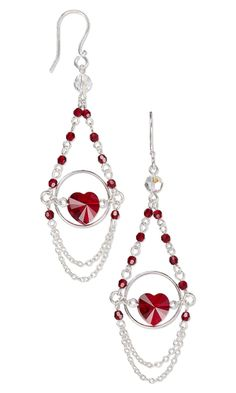 Earrings with Swarovski Crystal Beads and Sterling Silver Links and Chain - Fire Mountain Gems and Beads
