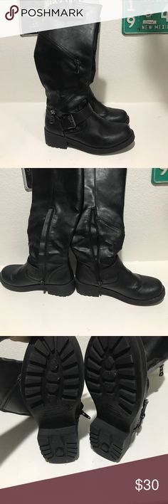 Black Moto Boots Cute black moto style boots from mossimo. Worn once, I love them just never broke them in and am now moving to a much smaller place. Mossimo Supply Co Shoes Combat & Moto Boots