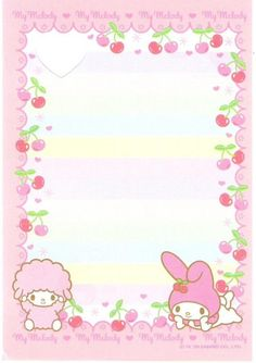 Kawaii memo paper - Sanrio - My Melody Sanrio Wallpaper, Hello Kitty Wallpaper, Little Twin Stars, Scrapbooks, Hello Kitty My Melody, Cute Stationary, Kawaii Stationery, Letter Set, Sanrio Characters