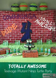 Teenage Mutant Ninja Turtle Party Ideas - Food, Decorations, and Turtle Birthday Parties, Ninja Turtle Birthday, Ninja Turtle Party, 4th Birthday, Birthday Ideas, Carnival Birthday, Ninja Turtle Decorations, Ninja Party, Teenage Mutant Ninja Turtles
