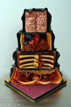 The Dissected Cake, A Cake With an Anatomical Interior of Bones and Organs - Halloween Cakes - Torten Crazy Cakes, Fancy Cakes, Bolo Halloween, Halloween Cakes, Halloween Party, Cake Cookies, Cupcake Cakes, Amazing Cakes, Beautiful Cakes