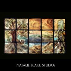 Glorious wall art tiles that are handmade and hand carved in Brattleboro, Vermont at Natalie Blake Studios ~ Visit the studio for a tour and see how the tiles are made!
