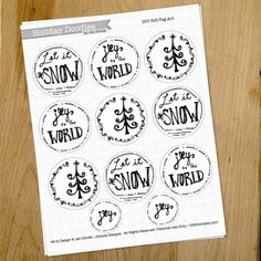 Pen and Ink Holiday Gift Tags by Jen Goode