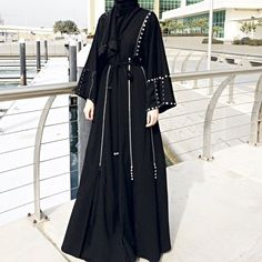 Black Jersey Abaya with Zippers and Crystals / Occasion Abaya / Dubai Abaya / Plus Size Abaya / Hijab Fashion / Modest Fashion / Eid Abaya Modern Hijab Fashion, Abaya Fashion, Modest Fashion, Women's Fashion Dresses, Muslim Fashion, Couture Dresses, Hijab Wedding Dresses, Disney Wedding Dresses, Hijab Bride