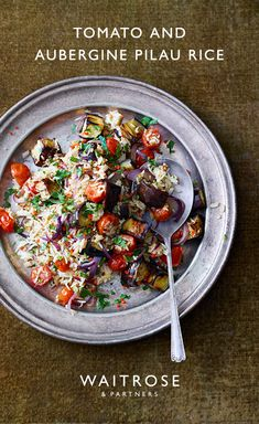 Tomato and aubergine pilau rice Vegetarian Rice Dishes, Vegetarian Dinners, Veggie Dishes, Vegetarian Recipes, Cooking Recipes, Healthy Recipes, Side Dish Recipes, Vegetable Recipes, Waitrose Food