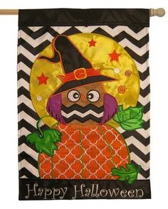 Happy Halloween Owl Double Applique House Flag