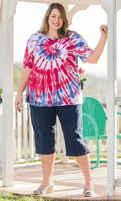 Freedom Tie Dye Tee / MiB Plus Size Fashion for Women / Fourth of July Style / Red, White and Blue