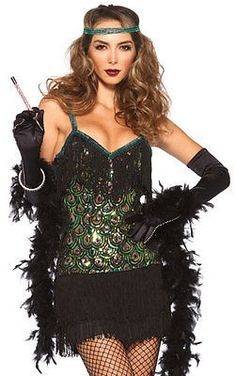Sexy Feathered Peacock Sequin Fringed Dress Flapper Costume