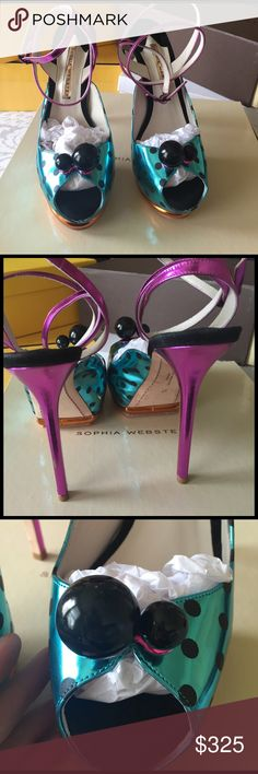 9d464f3b91d34 100%authentic Sophia Webster Bardot shoes metallic turquoise pink and  orange Sophia Webster shoes only