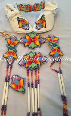 Girls full set beadwork & moccasins for Native American regalia. For sale. Native American Regalia, Native American Crafts, Native American Beadwork, Beaded Flowers Patterns, Beading Patterns, Powwow Regalia, Native Beadwork, Powwow Beadwork, Beadwork Designs