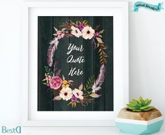 Your Quote Herewatercolor wreath by BestDesignland on Etsy