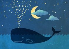 Imagen de stars, whale, and night