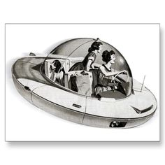 Flying saucer car - 1950s view of the future. On a post card!