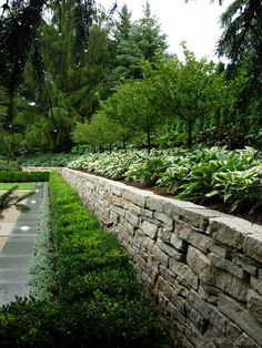 Extraordinary Hedge decorating ideas for Delightful Landscape Transitional design ideas with boxwood bushes concrete planters entry court fountain gras garden wall lawn panels Backyard Retaining Walls, Retaining Wall Design, Stone Retaining Wall, Stone Landscaping, Backyard Landscaping, Stacked Stone Walls, Stone Wall Design, Garden Hedges, Privacy Plants