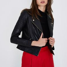 Checkout this Black leather quilted biker jacket from River Island
