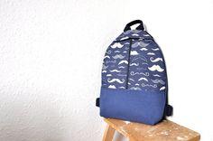 hipster backpack, stache bag , denim canvas backpack, rucksack backpack, moustache bag, bag for men by GalelBags on Etsy
