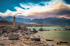 Mono Lake and a fire in background - Sierra Nevada, California | #stock #photography #gettyimages #print #travel |