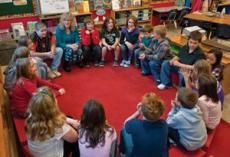 The Morning Meeting Book has step-by-step guidelines for implementing Morning Meeting in K–8 classrooms. (Photo © Jeff Woodward)