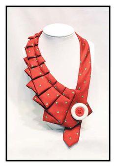 Candy Apple- Unique Repurposed Necktie Art Accessory Necklace/Trendy Collar