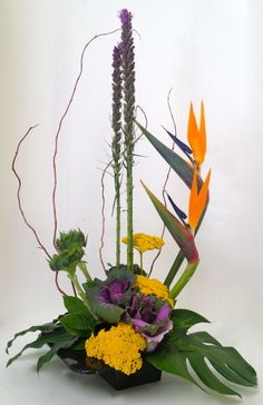 Autumn and Thanksgiving flower arrangements are available!  High-style, sophisticated arrangement.  Birds of Paradise, enjoyed natively here in San Diego, highlight the design. Purple liatris and curly willow provide dramatic flair.  Sunflowers, cabbage and tropical foliage showcase typical Southern California Fall colors. http://www.blossomsbythebeach.com/shop/