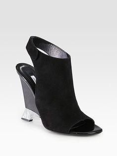 Diane von Furstenberg - Elsa Suede Slingback Wedge Sandals