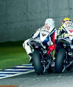 Rossi vs Lorenzo, 2009. Just discussing tactics.