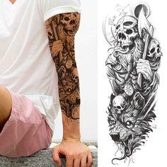 Tatto Skull, Skull Sleeve Tattoos, Temporary Tattoo Sleeves, Half Sleeve Tattoos For Guys, Full Arm Tattoos, Leg Sleeve Tattoo, Best Sleeve Tattoos, Forearm Tattoo Men, Mens Full Sleeve Tattoo