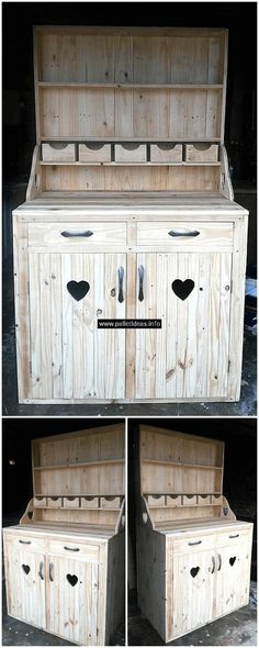 This wood pallets cupboard is another, easy to craft, cheap in price and incredible in appearance pallets wood art. This cupboard is best to use for storing your clothing items, as well as equally best to use in your kitchen as a kitchen cabinet. This cupboard has two cabins, two drawers, and different layers to keep your useful things in an organized manner.