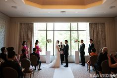 Gorgeous intimate wedding ceremony in the Phillips room overlooking the Boston Public Garden.