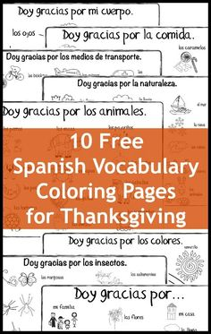 Spanish Thanksgiving vocabulary coloring pages to learn vocabulary and remind bilingual kids of the wonderful things we have. Free pages for many themes.