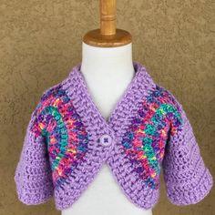 Little Girls Spring Sweater Shrug, Lavender Rainbow, Baby, Toddler, Girls, Handmade, by PeekabowsMESCrochet on Etsy