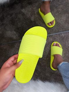 Get the best deal's on trendy styles here at Shop Official Bee. Neon Yellow Shoes, Bling Sandals, Shoes Sandals, Cute Slides, My Life Style, Ciabatta, Thigh High Boots, Girls Shoes, Black Boots