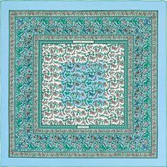 Chasse en Inde | Ref. : H241747S 44 bleu ciel /blanc/menthol | Shawl in 70% cashmere and 30% silk (140 x 140 cm)