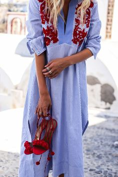 Strolling through Fira, Santorini | Tory Burch tunic & Aquazzura heels