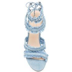 EVIRA DENIM SANDAL ($135) ❤ liked on Polyvore featuring shoes, sandals, denim footwear, fringe sandals, fringe shoes, denim shoes and denim sandals