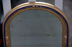 Repainted mirror by Varda Artisticolors  Blue & gold frame