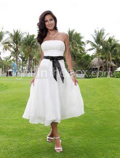 A-line Strapless Tea-length Chiffon Over Elastic Woven Satin Wedding Dress with Ribbon - $99.99