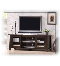 Lowest price online on Baxton Studio Havana Brown Wood Modern TV Stand (Plasma) Flat Tv Stands, Unique Tv Stands, Living Room Wall Units, My Living Room, Living Room Furniture, Living Area, Entertainment Wall Units, Home Entertainment Furniture, Modern Wall Units