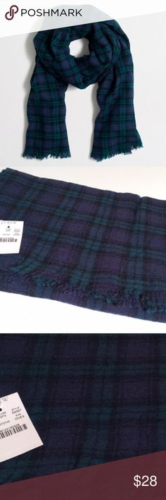 NWT J. Crew Plaid Scarf Gorgeous!!  New with tags and still in manufacturer packaging. Extra long so it can also be worn like a blanket scarf. French edges. Soft wool, not itchy at all. No trades. Price is firm. J. Crew Accessories Scarves & Wraps