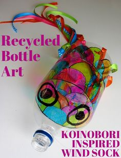 Art Projects for Kids: Recycled Bottle Koinobori. Create a bright and colourful windsock for your backyard Recycled Art Projects, Recycled Crafts, Projects For Kids, Crafts For Kids, Recycling Projects, Recycled Toys, Art Crafts, Recycled Materials, Plastic Bottle Crafts