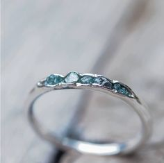 raw blue diamond stacking ring